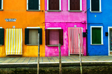 Colorful houses on the Venetian island of Burano