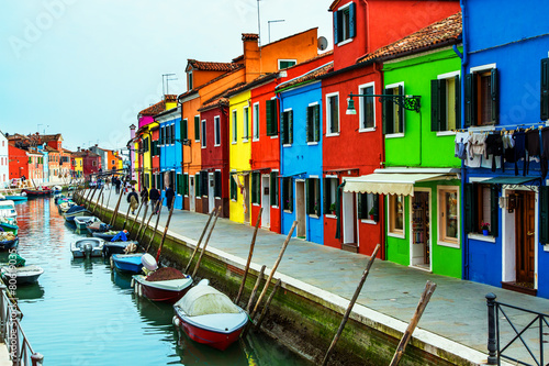 Leinwandbild Motiv Colorful houses on the Venetian island of Burano
