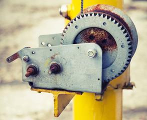 Manual all purpose winch closeup photo, retro filter
