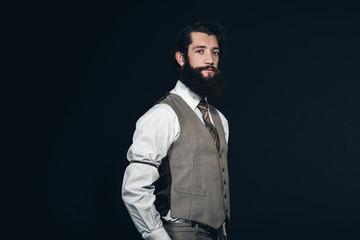 Man with Long Goatee Beard Wearing Formal Attire