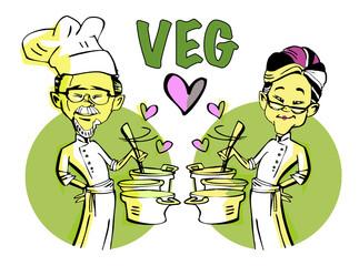 senior couple vegetarian chef cook