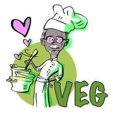 senior man vegetarian chef cook