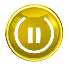 Button - Smilie gold, weiß als Powersymbol, freigestellt