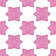 Seamless background with pink abstract flowers. Geometry