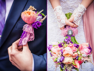 bridal bouquet and boutonniere groom and bride