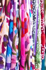Set of pattern scarves hanging at oriental bazaar in Istanbul