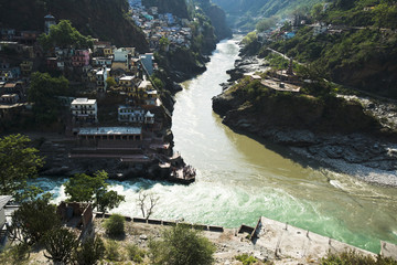 Confluence of the Alaknanda and Bhagirathi rivers to form the Ga