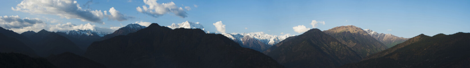Clouds over the mountains, Himalayas, Uttarakhand, India