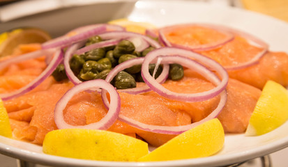 Onions Capers and Lemons with Smoked Salmon