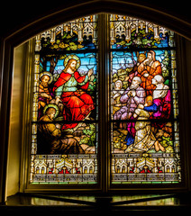 Tranquil Scene in Stained Glass Window