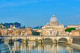 Bridge of Castel St. Angelo on the Tiber.Dome of St. Peter's bas - 80621833