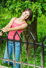 Girl at bridge hand-rail