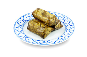 Steamed sticky rice with banana or Khao Tom Mad,Thai dessert
