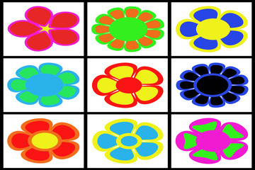 Collection of colored flowers on white background