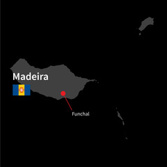 Detailed map of Madeira and capital city Funchal with flag on
