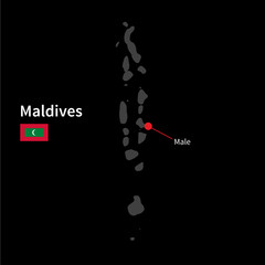 Detailed map of Maldives and capital city Male with flag on