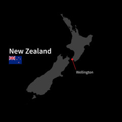 Detailed map of New Zealand and capital city Wellington with