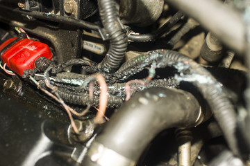 burnt wires on the car