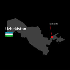 Detailed map of Uzbekistan and capital city Tashkent with flag