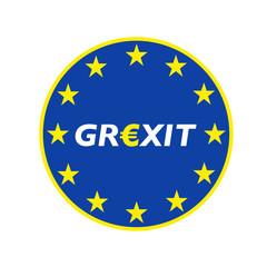 Grexit rund blau/gelb