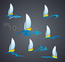 Boat logo on a wave on a black background