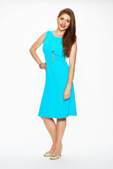 fashion model with long hair dressed in blue dress.