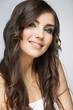 Female model studio posing.Beauty smiling woman face portrait.