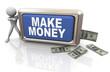 3d man making money