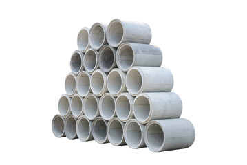 Concrete drainage pipes stacked for construction, irrigation, in