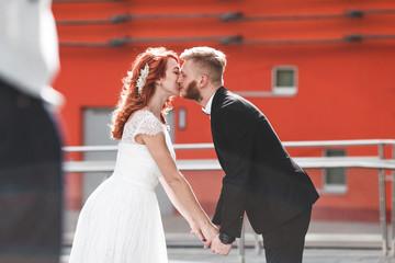 Wedding couple in city