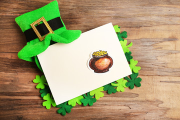 Greeting card for Saint Patrick's Day with leprechaun hat
