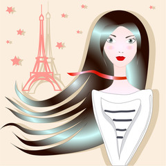 Brunette with red lips, the Eiffel Tower