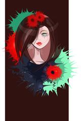 Portrait of a woman in colorful paint blots
