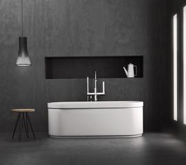 Contemporary minimal grey concrete bathroom