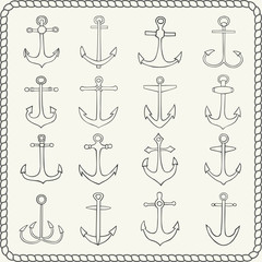Silhouettes of hand drawn anchors