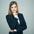 Smiling Business woman crossed arms isolated portrait.