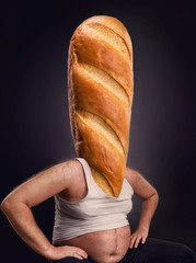 Man with a bread instead of the head