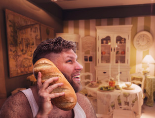 Strange man listening to something in bread