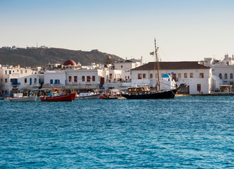 the town of Mykonos in Greece against the sky