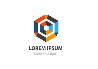 Abstract geometric crystal icon. Logo design template.