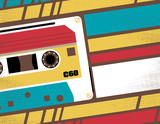 Fototapety Retro Tape Cassette Club Flyer
