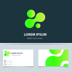 Vector creative logo with geometric shape.