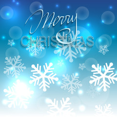 Christmas shiny blue background with snowflakes.
