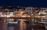 The old port town of Mykonos at the night lights. Greece.