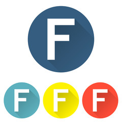 Letter f in a flat on colored backgrounds vector illustration