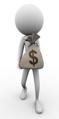 3d man and money bag
