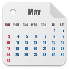 Calendar for the month of May vector illustration