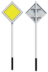 Square yellow road sign. Front and back view. Isolated
