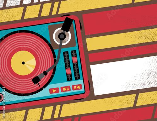 Retro Turntable Club Flyer. - 80629038