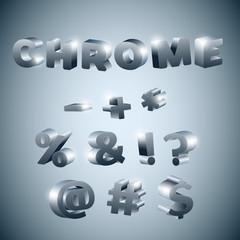3d Symbols stylized chrome surface